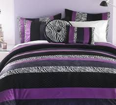 Zebra Print, Black, Purple, Aqua or Turquoise, a little Lime green. Funky Bedroom decor...