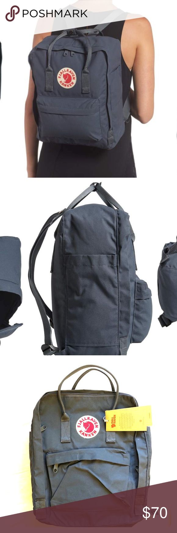 "Fjallraven Kanken Backpack NWT • graphite color SIZE INFO 10 ¼""W x 15""H x 5""D. (Interior capacity: medium.) .8 lbs. DETAILS & CARE Scandinavian design  Two-way zip-around closure with rain flap. Fits most 13"" laptops. Snap-together top carry handles; adjustable backpack straps. Exterior zip and slip pockets. Foam insert for cushioning and shape is removable and can be used as an on-the-go seat pad. Vinylon. By Fjällräven; imported. Handbags. Item #822824 Fjallraven Bags Backpacks"