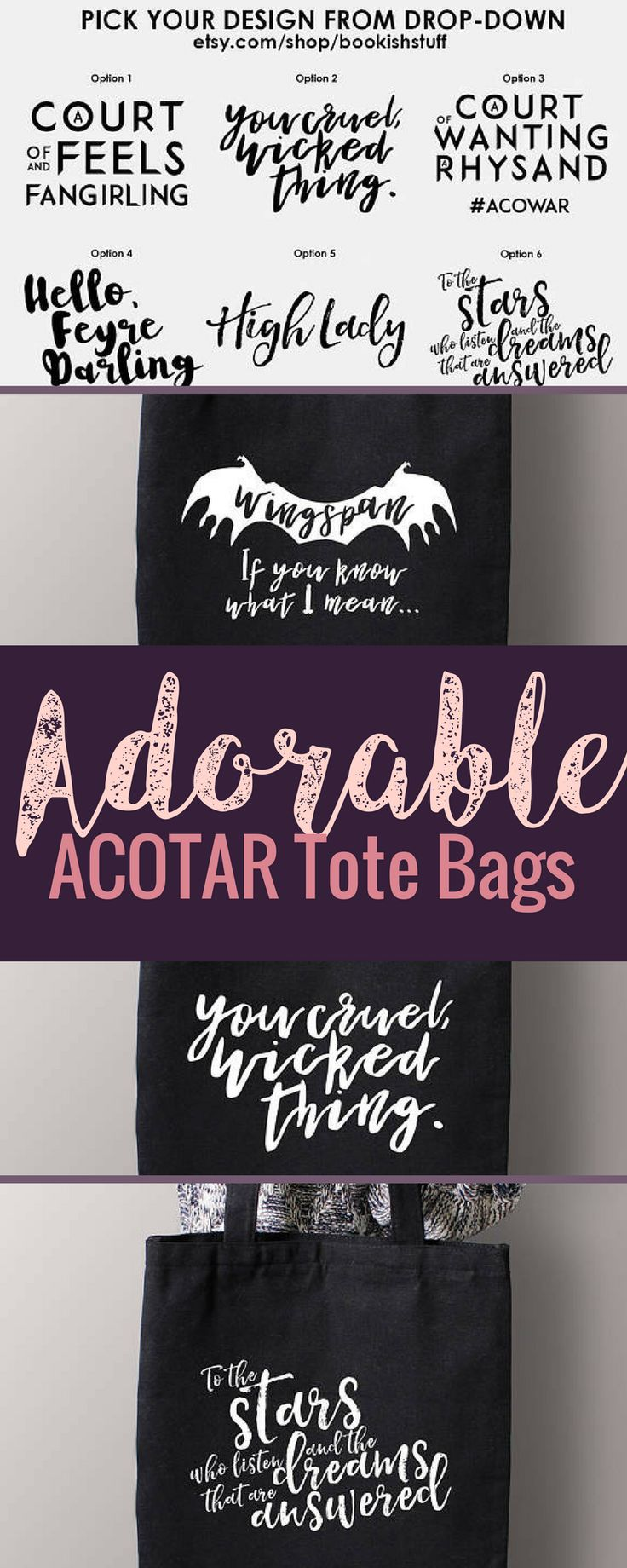 I love these ACOTAR bags!! How cute are they?  A Court of Thorns and Roses. #affiliate