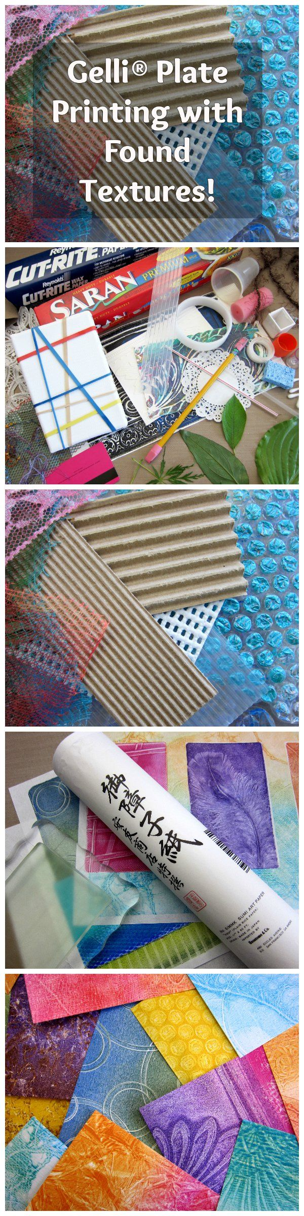 Gelli® Plate Printing with Found Textures and DIY Texture Tools! Blog post is loaded with great, inexpensive and fun ideas for Gelli printing!