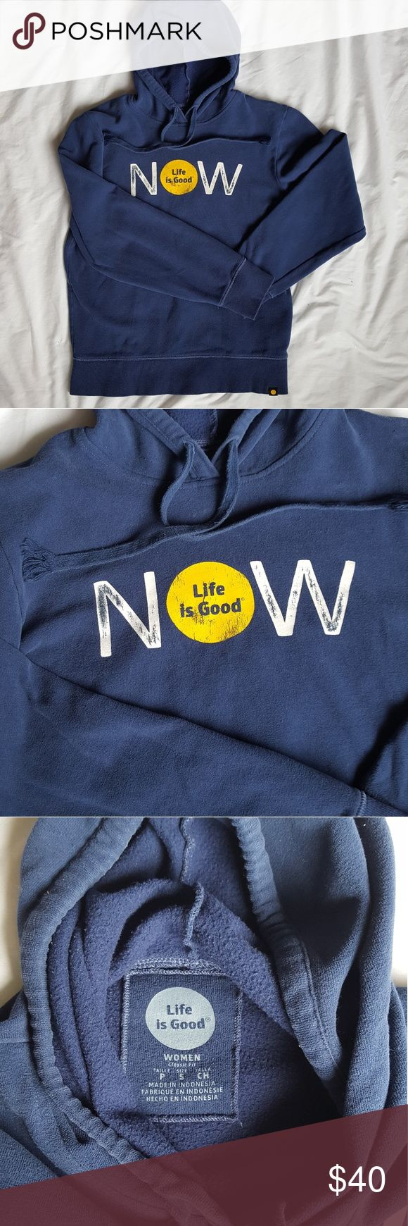 Life Is Good • blue women's hoodie EUC, worn a handful of times. Womens Classic fit. Blue hoodie, soft inside, very comfortable! The distressing on the front print is part of the design, not from wear. 💙 Life Is Good Tops Sweatshirts & Hoodies