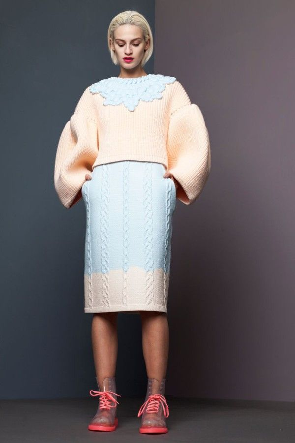 Patterned silicone knitwear collection by Xiao Li - voluminous pastels