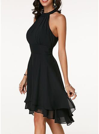 VERYVOGA Solid Sleeveless A-line Knee Length Little Black/Party Dresses - Dark Navy 3