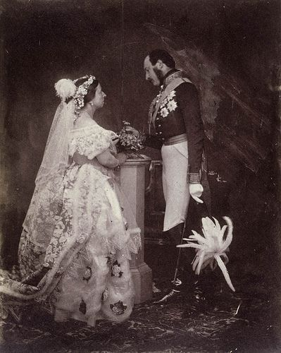 Queen Victoria and Prince Albert, Buckingham Palace 1840. They say she started the white wedding dress trend.