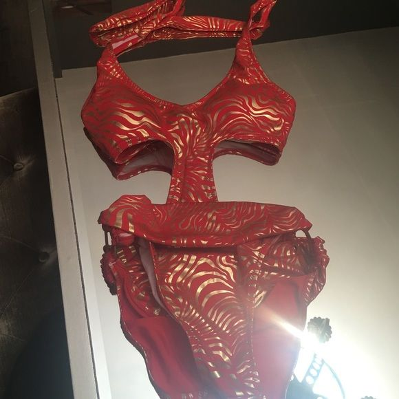 Biki size small monokini Gold and red monokini perfect for the beach or lounging by the pool! Swim One Pieces