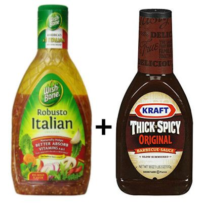 Easiest marinade - equal parts Italian dressing + BBQ sauce. Use for grilling, marinade a few hours or overnight, use in the oven or the crock pot.