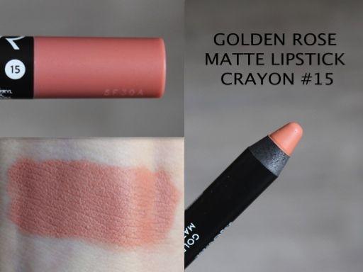 MAKEUP ARENA: Golden Rose Matte Lipstick Crayon - 15
