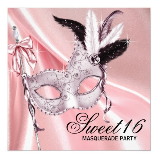 Pink Black Sweet 16 Masquerade Party Custom Invitations