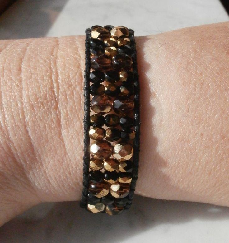 Bracciale in cotone, con perle in mezzo cristallo colorato. : Braccialetti di gioielli-di-giada