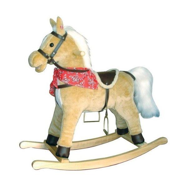 Base Toys hobbelpaard  De Base Toys hobbelpaard voorzien van hoofdstel, zadel en boerenbontdoek is een stoer paard voor de kleine cowboy. Dit licht bruine paard hinnikt en maakt galop geluiden terwijl je aan het hobbelen bent.