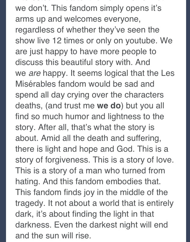 Part 2 of les mis fandom. I found this on tumblr and thought it was beautiful.