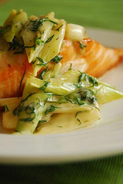 pan seared salmon with creamy leeks.