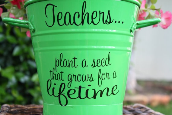 Teacher's gift...would be cute with a plant in the pot.