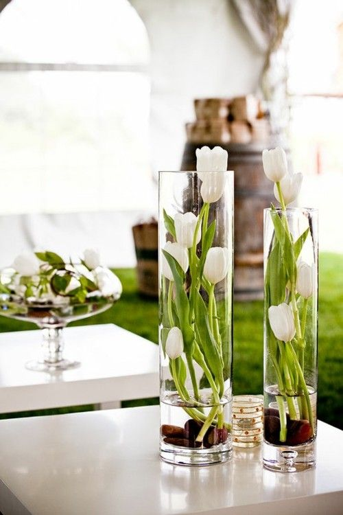 Different sized tulips in tall vases with stones at the bottom