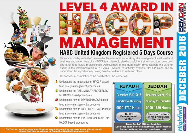 Level 4 Award in HACCP Management