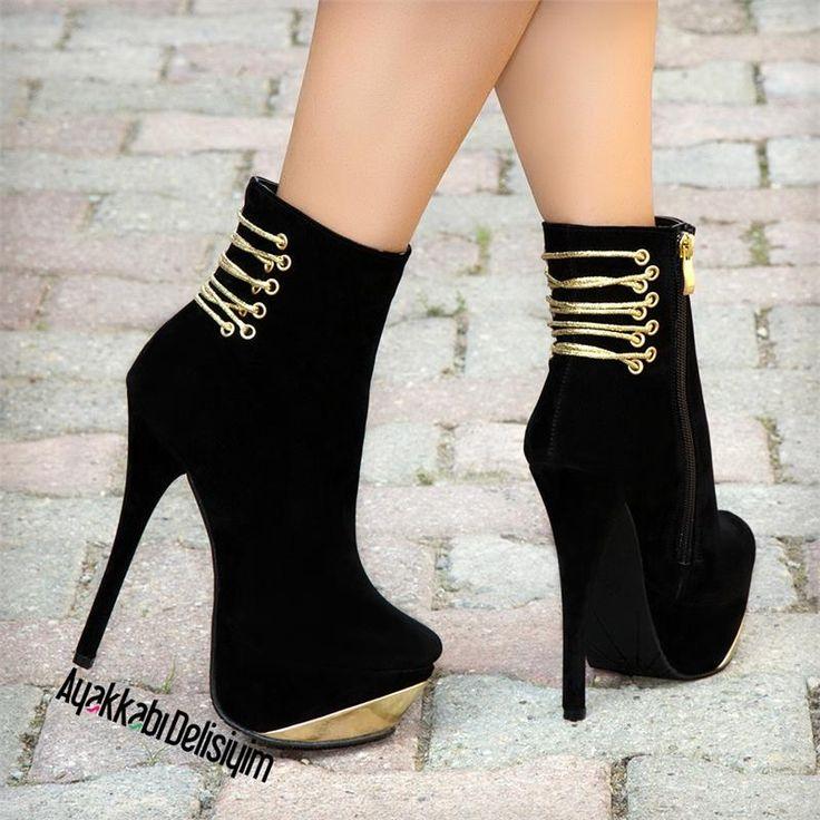 Santana Süet Siyah Yüksek Topuklu Ayakkabı #abiye #platform #boots #shoes #trend