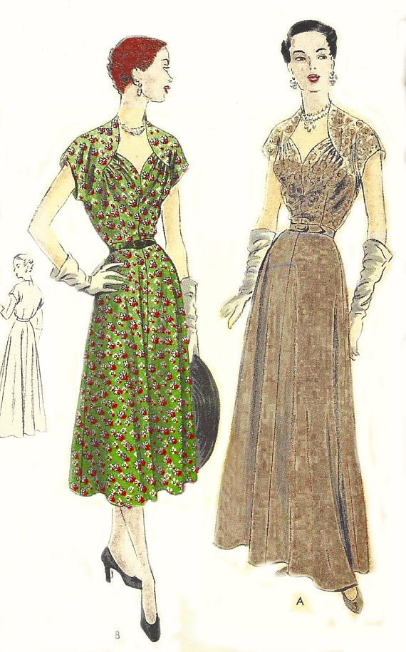 Vintage 1950\'s Sewing Pattern Ultra Rare Vogue Evening Gown ...