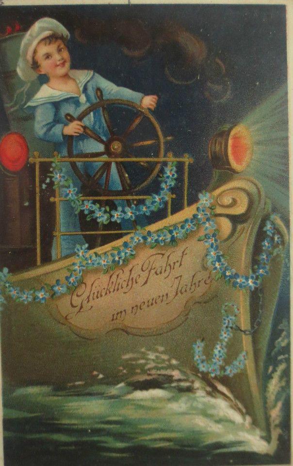 """""""Neujahr, Matrose, Schiff, Scheinwerfer""""1915, Prägekarte ♥ (10741 )"""