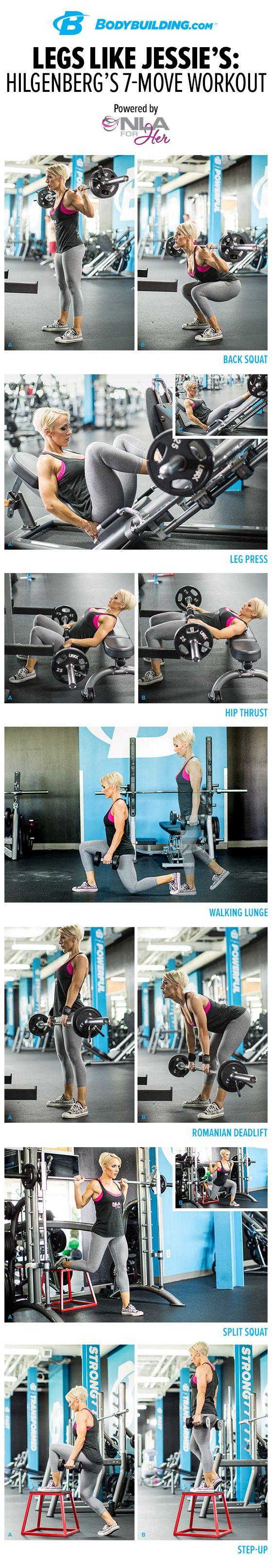 Legs Like Jessie's: Hilgenberg's 7-Move Workout. Want a lean and lovely lower body? Jessie Hilgenberg will show you exactly how to do it! All you have to do is follow this workout.