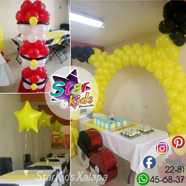 decoracióncon globos pokemon