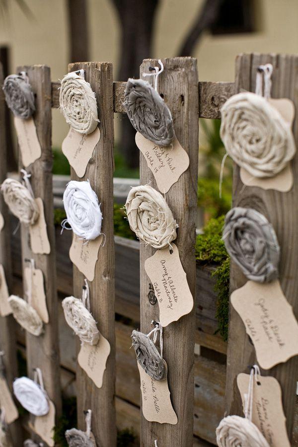 fabric flower escort cards // photo by Jen-Rodriguez.com