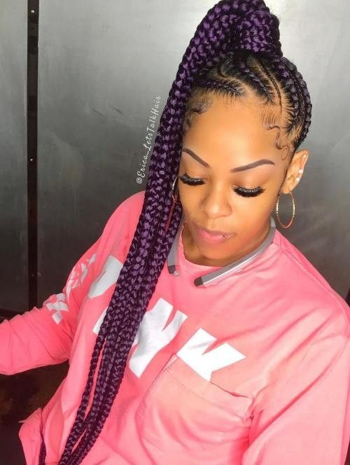Feedin side ponytail qith color large  Braids in 2019  Lemonade braids hairstyles Ponytail