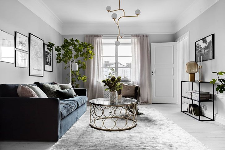 Стильная и элегантная квартира с камином в Швеции (79 кв. м) | Пуфик - блог о дизайне интерьера