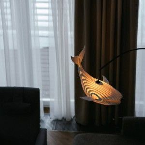 Lovely Wooden Whale Lamp