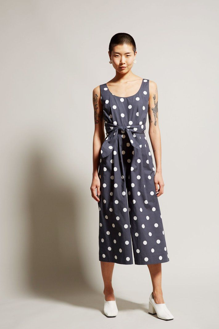 No.6 Alice Jumpsuit in Large Dots Black Cotton Poplin
