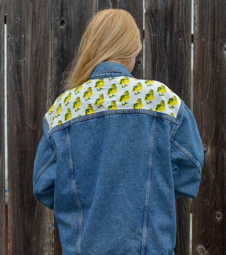 Duckling fabric and Oregon Ducks Patch on Vintage denim jacket