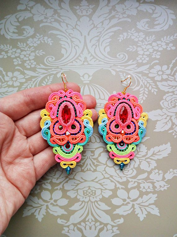 Colored earrings Statement earrings Soutache earrings Big long earrings Pink earrings Neon earrings Bracelet and earrings set Jewelery set  These colored earrings are very bright and unusual. They will emphasize your original taste, help you stand out, become bright. Neon earrings for brave girls) Also earrings can be set with a bracelet ===> Big long earrings light, comfortable. Soutache earrings are light, despite the large size.  The length of earrings is 2.6 inches (6.5 ...
