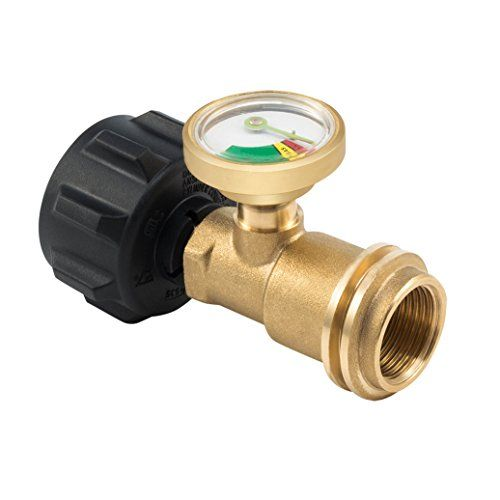Propane Gas Guage meter, Tank Gauge/Leak Detector Brass Lead-free Propane Tank Cylinders Gas Pressure Meter, By E-Starlet  Compatible with all appliances with a QCC1 / type1 connection and up to 40-lb. propane tanks for gas grills, RVs and boats.  Durable (lead free) Brass DMV metal, withstands weather,scratching,denting and corroding.  See at a glance when your propane pressure level is low with Propane tank gas gauge easy-to read dial and color coded dial design.  Provides excess flo...