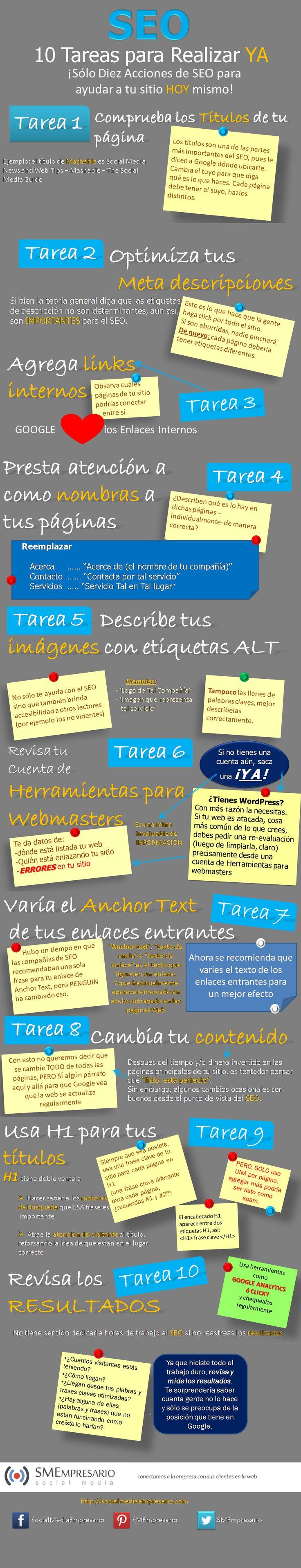 10 Acciones de #SEO que deberías estar haciendo YA MISMO! #Infografia en #espanol