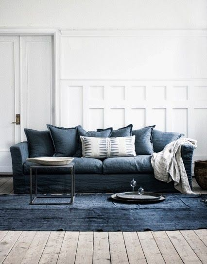 Blue Sofa, Rug And Pillows