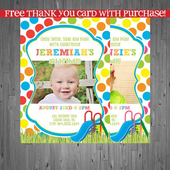 park Birthday Invitation, first birthday party invitation, slide party, party invitation printable, FREE thank you card