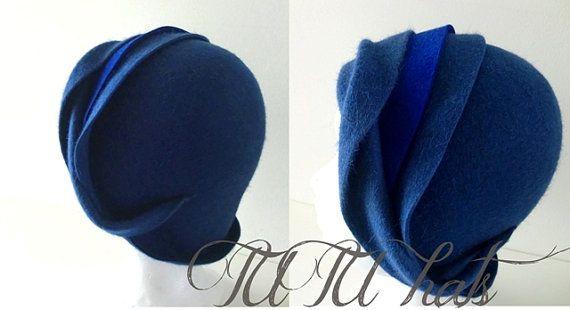 Blue felt cloche vintage style handmade hat by TUTUHandmadeHats
