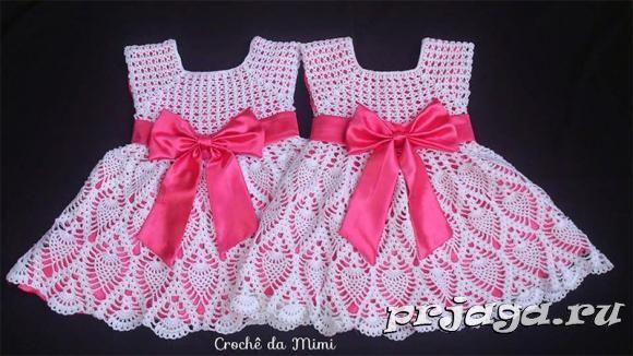 Платья вязанные крючком для девочек