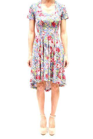 Forest Green or Blue Vintage Floral Bridesmaids dress