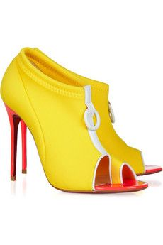 yellow mellow...: Shoes, Christians, Snorkeling 100, Louboutin Snorkeling, 100 Neoprene, Yellow, Christian Louboutin, Leather Ankle Boots, Christianlouboutin