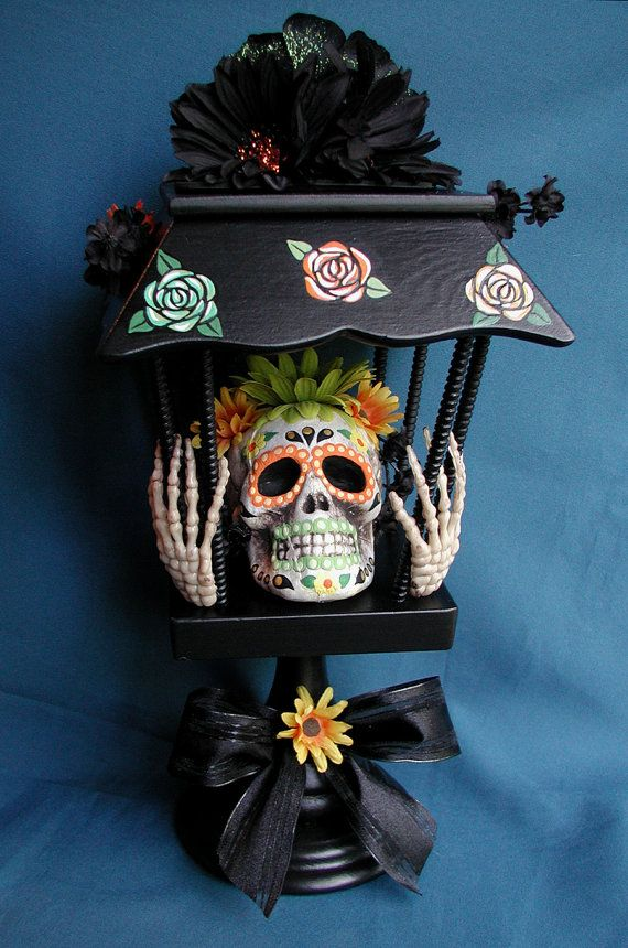 halloween day of the dead sugar skull light up centerpiece decoration one of a kind - Day Of The Dead Halloween Decorations