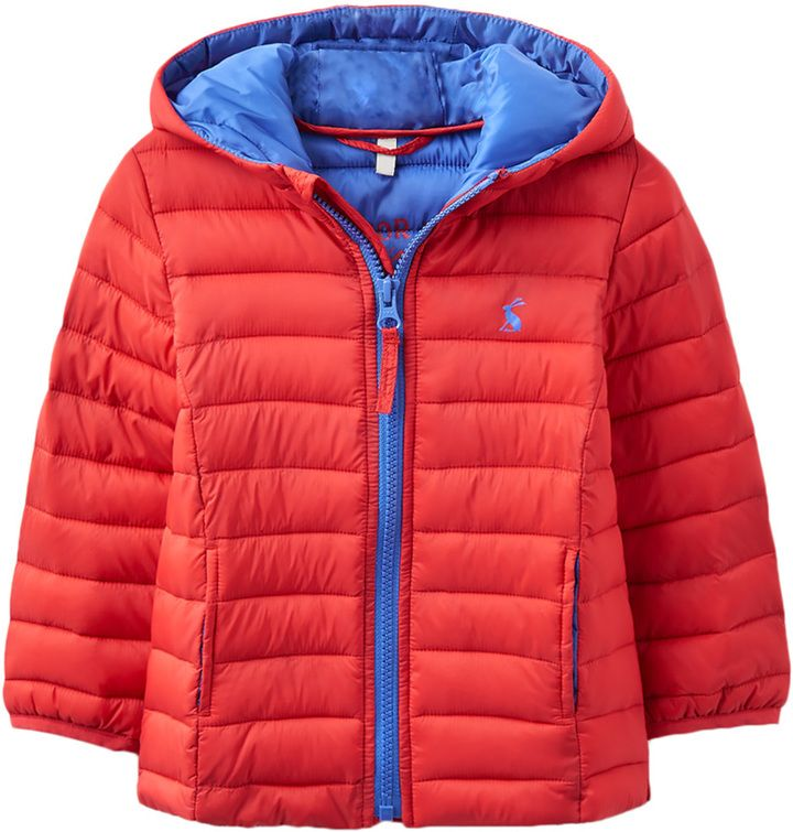 Joules Quilted Hooded Coat - Red, Size 18-24