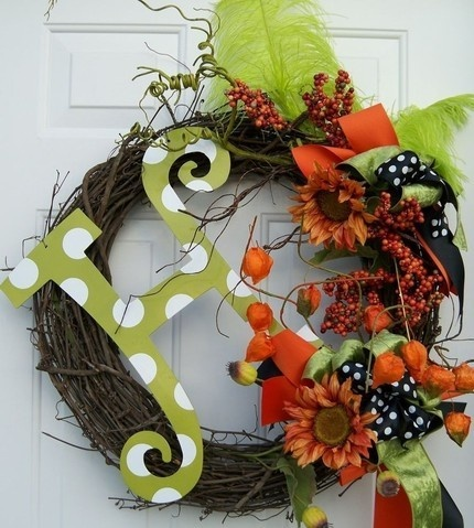Fall wreath...do similar one for christmas with different decor! Love the big letter