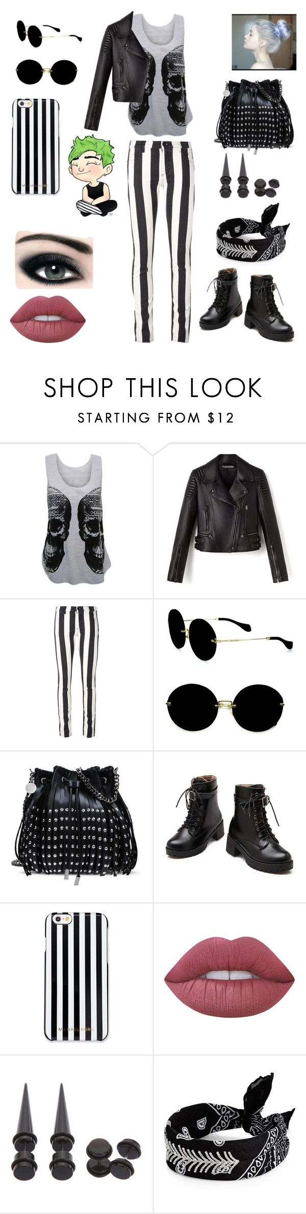 """""""how I met mikey clifford"""" by soslover666 ❤ liked on Polyvore featuring WearAll, Off-White, Miu Miu, STELLA McCARTNEY, MICHAEL Michael Kors, Lime Crime, Max Factor and Fallon"""