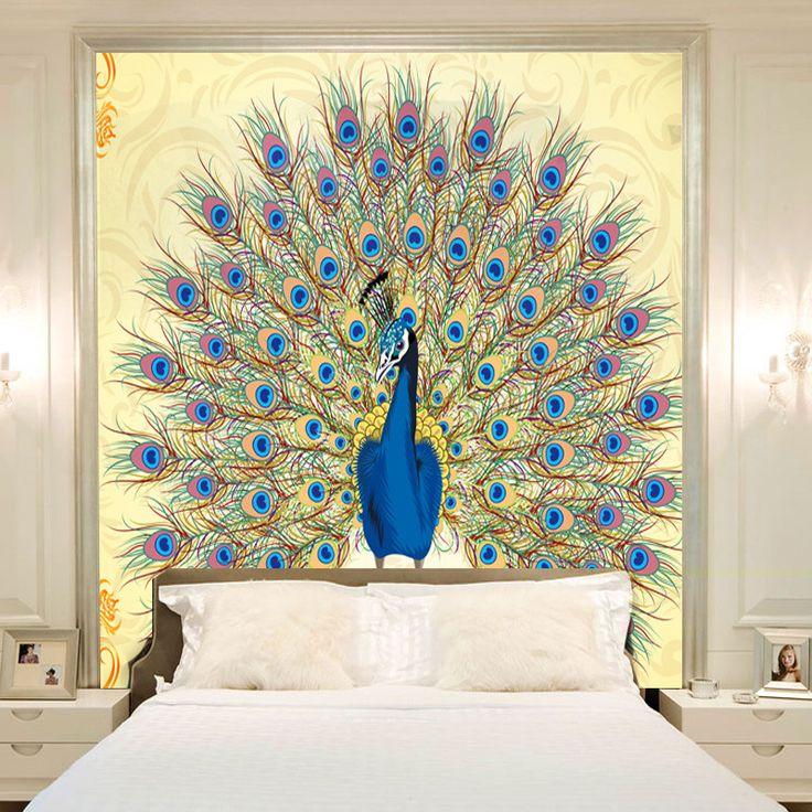 Home furnishing fashion mural peacock wallpaper customized