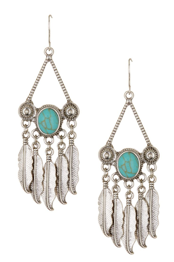 Feather Fringe & Stone Earrings by Stephan & Co on @nordstrom_rack