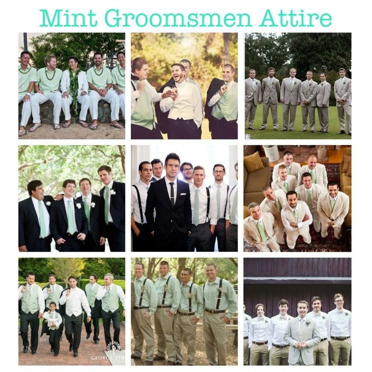 Mint green wedding groomsmen attire. (mint, groomsmen, outfit, inspirations, tuxedos, suits, vests, dress shirts, ties, pants, shoes, men, fashion) More mintspirations on my blog!