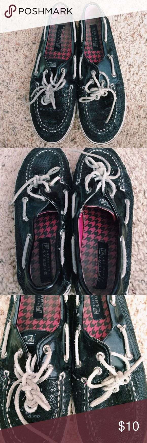 Sparkly Black Sperrys Size 5 purchased from the girls section. In pretty good condition but shoes signs of wear (last photos). Sperry Shoes Flats & Loafers