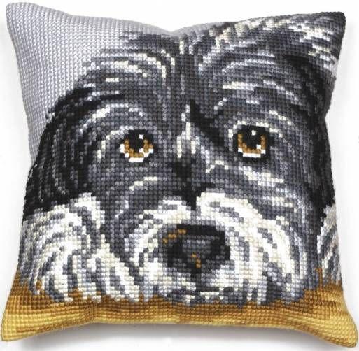 image of Faithful Dog Cushion Panel Cross Stitch Kit