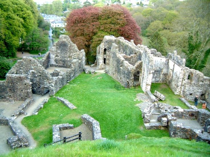 Ruins of Okehampton Castle in Devon -- ancestral home of the de Courtenay family.