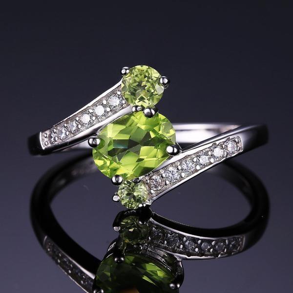 3 Stones Natural Peridot Ring   925 Sterling Silver   matans store.myshopify.com